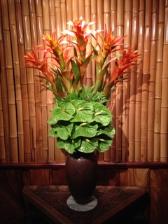 Flower Arrangements- Green Anthiriums and Bromeliads  Mamas Fish House Restaurant