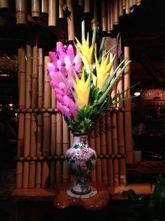 Yellow Heliconia and Bromeliads Flower Arrangements  Mamas Fish House Restaurant